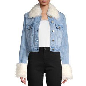 Michael Kors - Faux Fur Trimmed Jean Denim Jacket